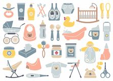 Icons of products for newborns Stock Photos