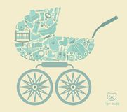 Icons of products for babies In the form of a stroller Stock Photo