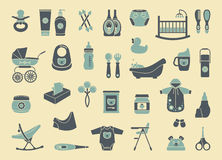 Icons of products for newborns Stock Photography