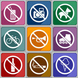 Icons prohibition Stock Photography