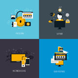 Icons for protection, support, multimedia device and quck response. Flat style. Vector stock illustration