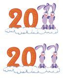 Icons with rabbit. Icons with figures 2011 and a rabbit Stock Photo