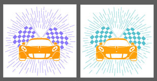 Icons racing of sports cars. With rays in linear style Stock Photography