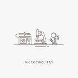 Icons for radiotechnics. Radio engineering flat line icons set. Soldering station, microscope and stand for soldering iron Royalty Free Stock Photography