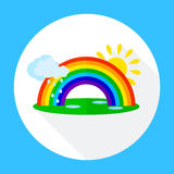 Icons rainbow with clouds, Stock Photo