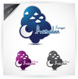 Icons for Ramadan. A set of three icons for Ramadan with a crescent moon on a colored cloud Royalty Free Stock Image