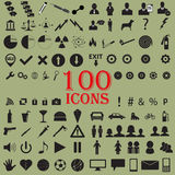 100 Icons. 100 random icons with green background Stock Photo