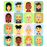The icons are rectangular in shape with rounded corners, users and people icons with white background. vector illustration