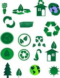 Icons for Recycling in the world. Go green environmental icons representing many usages in life..  learning and educating others to save our planet... worldwide Stock Photography