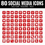 Red Vector square social media icons - for web design and graphic design stock illustration