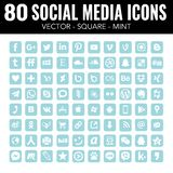 Blue Mint Square social Media Icons Professional set - Vector with rounded corners royalty free illustration