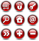 Icons in red Stock Photos