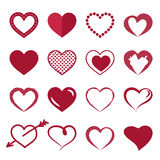 Icons red heart. Set of icons of red hearts. Vector illustration Stock Image