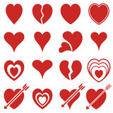 Icons of red hearts. Set of simple icons of red hearts Stock Image