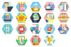 Icons related internet business and finance theme. Customer service from acceptance of orders and payment to packaging. And delivery. Colorful flat vector Stock Photos