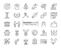 Icons related with success, motivation, willpower, leadership. Determination and growth. Vector pictogram thematic set. Objects and dynamic character actions Stock Photos