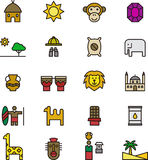 Icons related to Africa. Collection of different icons related to Africa, isolated on white background Stock Image