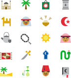 Icons related to Arabic culture Stock Image