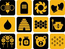 Icons related to bees and honey Royalty Free Stock Photo