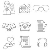 Icons related to business management, strategy, career progress and business process. Mono line pictograms and infographics design Royalty Free Stock Images