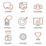Icons related to business management, strategy, career progress and business process.  Royalty Free Stock Photo