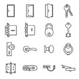 Icons related to doors and locks Royalty Free Stock Photos