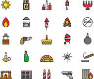 Icons related to fire. Illustration in 25 icons of topics related to fire, including, pistol, candle, cigarette lighter, coal fire, cigarettes, oven, hand royalty free illustration