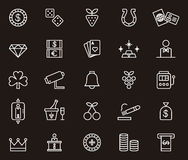 Icons related to gaming and casino. Illustrations of white icons related to the casino and  gaming and the clients, black background Royalty Free Stock Image