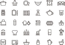 Icons related to the kitchen Stock Photos