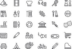 Icons related to leisure activities. Thirty icons illustrating various leisure activities and hobbies, white background Stock Photos