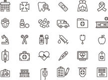 Icons related to medical care. Illustrations for 30 icons related to medical care, white background Stock Photos
