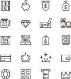 Icons related to money Stock Photo