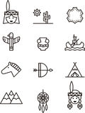 Icons related to native Americans Royalty Free Stock Images