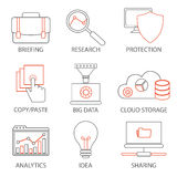 Icons related to support business management, strategy, career progress and business process. Mono line pictograms and infographic Stock Images