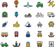 Icons related to transport. Collection of icons related to means of transport, isolated on white background royalty free illustration