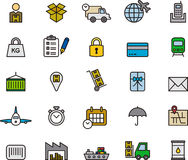 Icons related to transport, logistics and shipping Stock Photography
