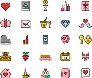 Icons related to Valentine's Day. An array of twenty five icons illustrating and related to Saint Valentine's Day, white background Stock Photos