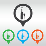 icons related to wine including wine bottle, wine glass, corkscrew. icon map pin Royalty Free Stock Photo