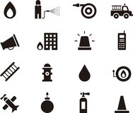 Icons relating to work of firemen. Set of icons illustrating the work of firemen and firefighting, white background Stock Photo