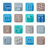 Icons, repair, building materials, decoration materials, white outline, colored background. Royalty Free Stock Images