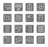 Icons, repair, construction, building, gray, contour, grey background. Stock Images