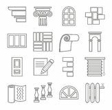 Icons, repairs, construction, building materials, line, outline, monochrome. Contoured, single-color icons building materials. Repairs and construction. On a Royalty Free Stock Photo