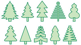 Icons representing Christmas trees Royalty Free Stock Photography