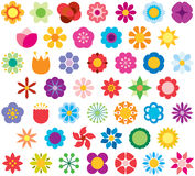 Icons representing flowers. A colorful set of artistic illustrations based on geometry to represent the anatomy of flowers, white background Stock Image