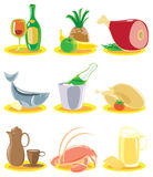 Icons for restaurant menu. Icons with dishes for restaurant menu. Vector illustration royalty free illustration