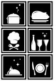 Icons with restaurant objects Royalty Free Stock Image