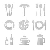 Icons for restaurant. Set of vector icons restaurant , cafe, bar. Vector illustrations of kitchen utensils. Templates spoons, forks , plates for further use in vector illustration