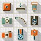 Icons retro camera. Icons set of retro photo camera Royalty Free Stock Photos