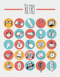 25 Icons Retro elements. In circles Stock Image