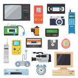 Icons of retro gadgets of the 90`s in a flat style. Icons of gadgets of the 90`s in a flat style. Retro game console, camera, video cassette, player, vintage TV Royalty Free Illustration